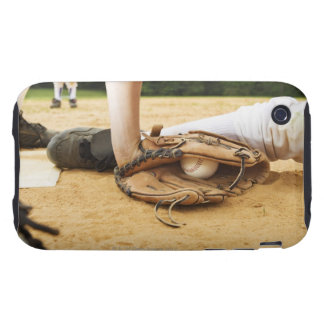 Glove of baseball player tagging runner out, iPhone 3 tough cover