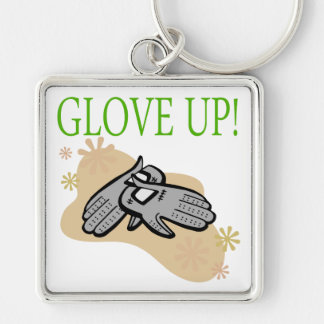 Glove Up Silver-Colored Square Keychain