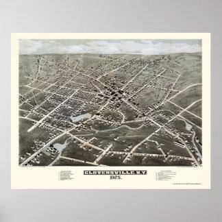 Gloversville, mapa panorámico de NY - 1875 Posters