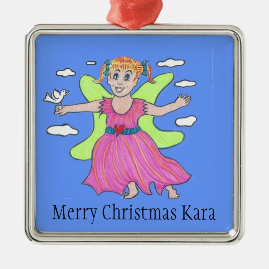 Glow Angel/Little Kara soars Metal Ornament