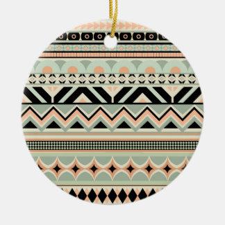 Glow aztec pattern ceramic ornament