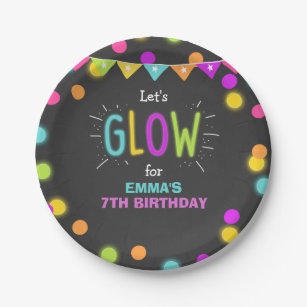 Glow Birthday Party Paper Plates Neon Disco Laser  sc 1 st  Zazzle : disco paper plates - pezcame.com