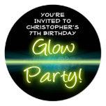 Glow Birthday Party, Yellow/Green Blacklight Card