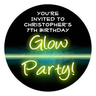 Glow Birthday Party, Yellow/Green Blacklight 5.25x5.25 Square Paper Invitation Card