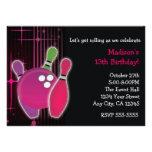 Glow Bowling Bowl Girls Birthday Party Invitation