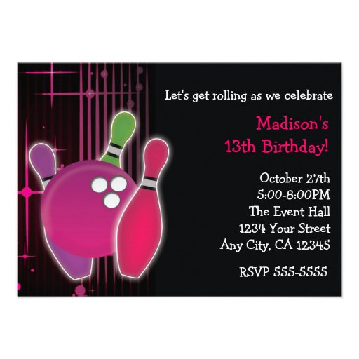 Girl Bowling Birthday Party Invitations with adorable invitation design