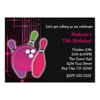Glow Bowling Bowl Girls Birthday Party Invitation