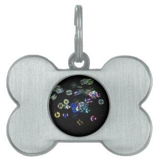 Glow bubbles at night pet ID tag