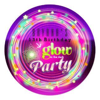 Glow Circles & Stars Birthday Party Invitations