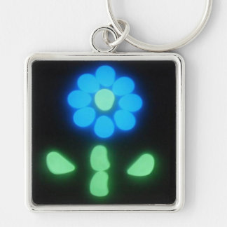 Glow Flower Power Silver-Colored Square Keychain