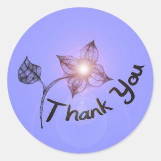 Glow Flower Thank You Classic Round Sticker