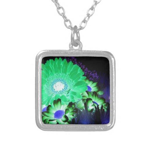 Glow Flowers Square Pendant Necklace