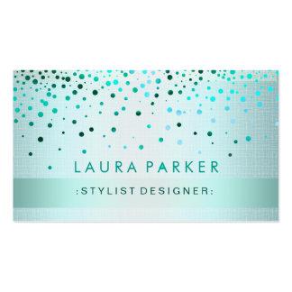 Glow Glitter Blue Confetti Linen Elegant Business Card Templates