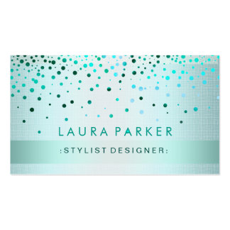 Glow Glitter Blue Confetti Linen Elegant Double-Sided Standard Business Cards (Pack Of 100)