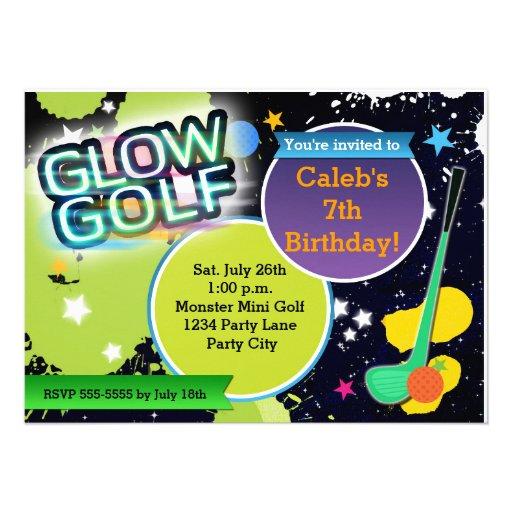 Glow Golf Monster Mini Golfing Party Invitation Custom Announcement