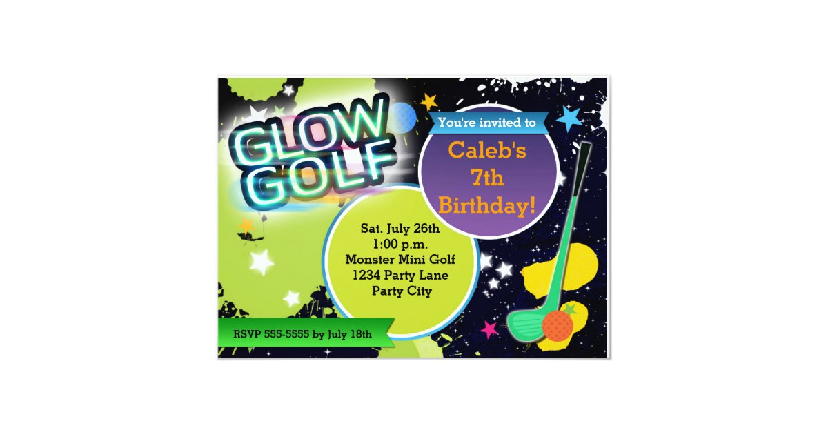 Glow Golf Monster Mini Golfing Party Invitation – Golf Party Invites