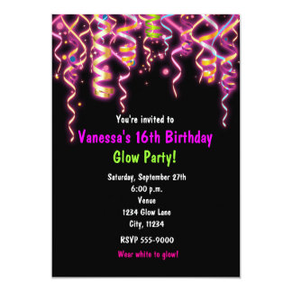 Glow in Dark Birthday Party Streamers Invitation