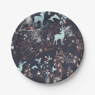 Glow in dark nature boho tribal pattern paper plate & Glow In The Dark Plates | Zazzle