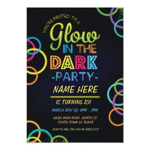 Glow In The Dark Birthday Invite Neon Kids Party | Zazzle