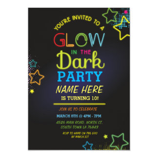 Glow In The Dark Birthday Invite Neon Kids Party