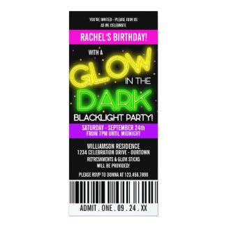 Glow in the Dark Birthday Party 4x9.25 Paper Invitation Card