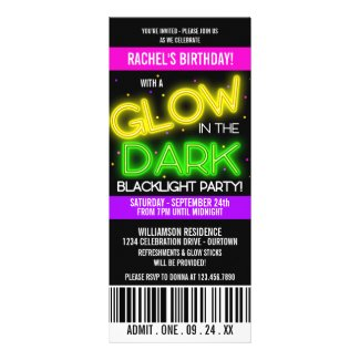 Glow in the Dark Birthday Party Personalized Announcements