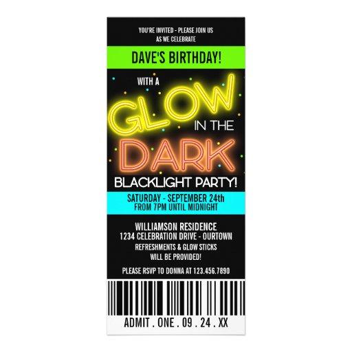 Glow in the Dark Birthday Party Invite