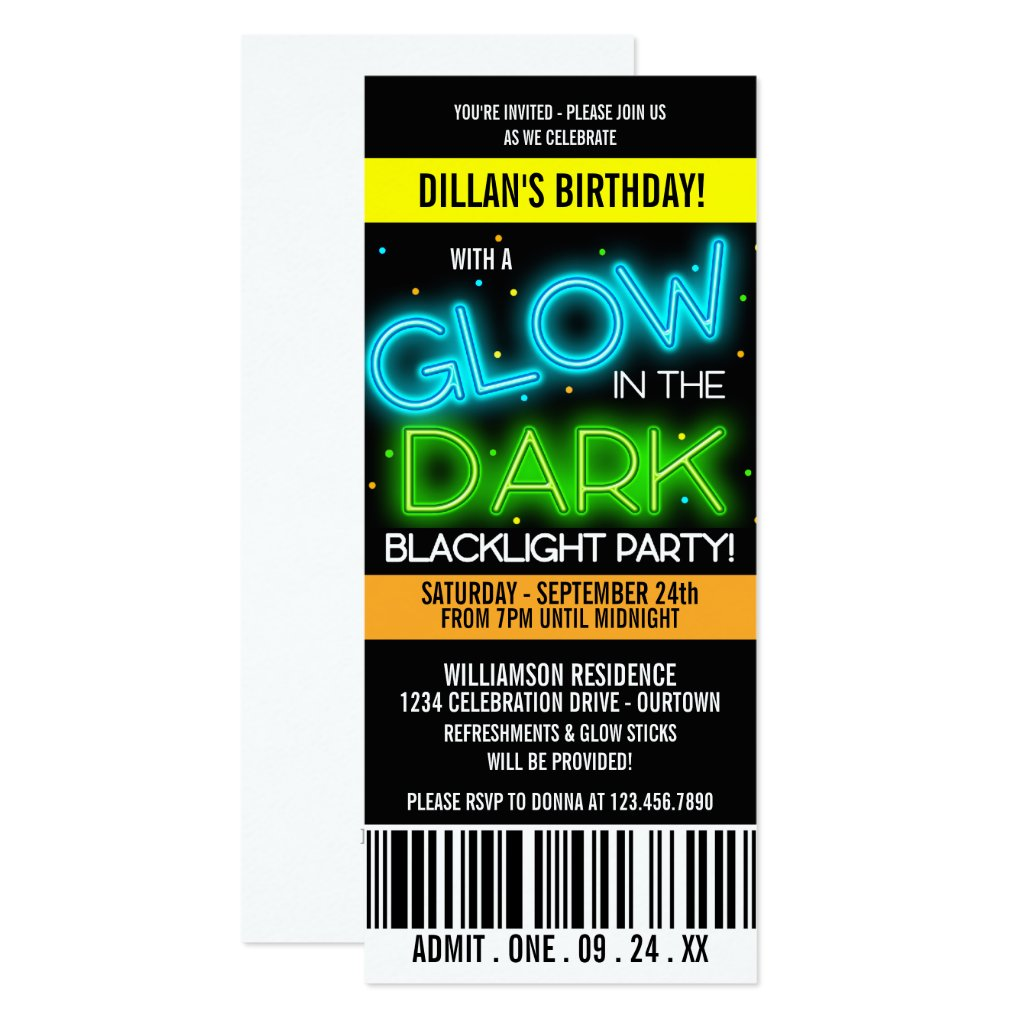 Glow in the Dark Birthday Party Invitation