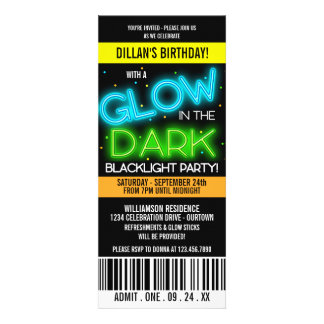 Glow in the Dark Birthday Party Custom Announcements