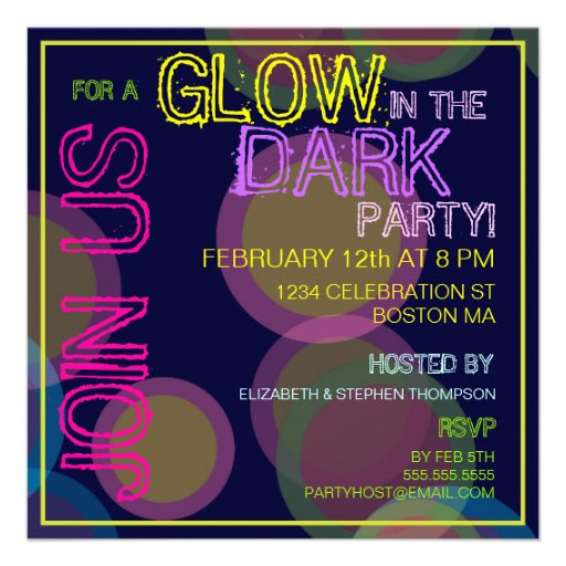 Personalized Glow in the dark Invitations – Glow Party Invites