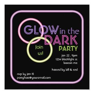 """Glow in the Dark Blacklight Party Invitation 5.25"""" Square Invitation Card"""