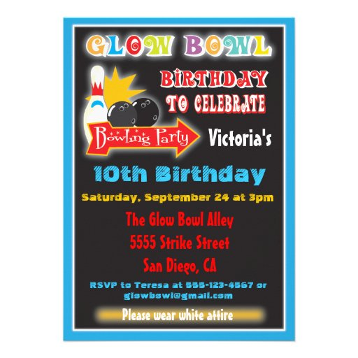 Glow in the dark bowling party invitations