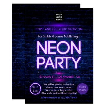 Professional Business Glow in the Dark Neon Corporate party invitation