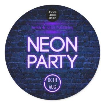 Professional Business Glow in the Dark Neon Corporate party invitation Classic Round Sticker