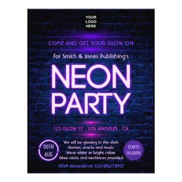 Professional Business Glow in the Dark Neon Corporate party invitation Flyer