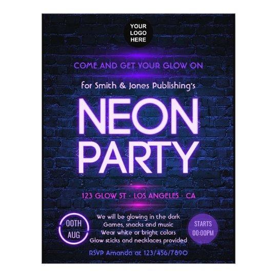 glow in the dark neon corporate party invitation flyer zazzle com