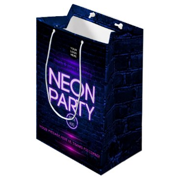 Professional Business Glow in the Dark Neon Corporate party invitation Medium Gift Bag