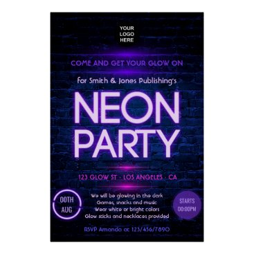 Professional Business Glow in the Dark Neon Corporate party invitation Poster
