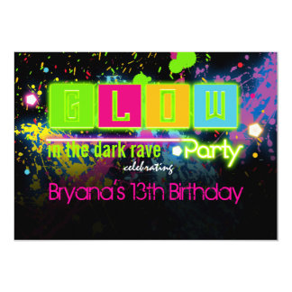 Glow in the dark neon paint party invitation invitations