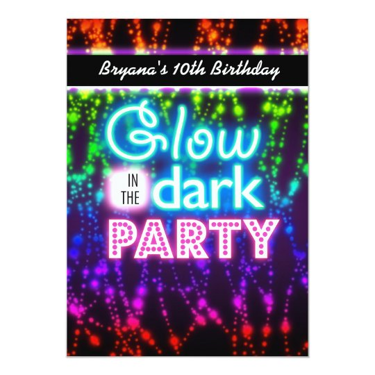 Glow in the dark neon party invitations Rainbow Zazzlecom