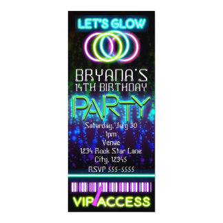 Glow in the Dark Neon VIP Birthday Party Ticket Card