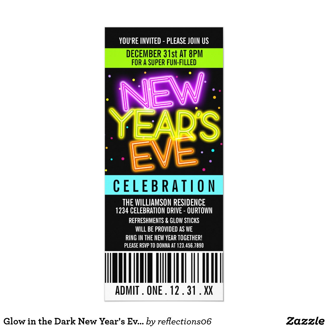 Glow in the Dark New Year's Eve Party Invitations