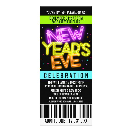 Glow in the Dark New Years Party Invitations