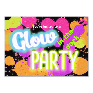 Glow in the dark paint splatter party invitation