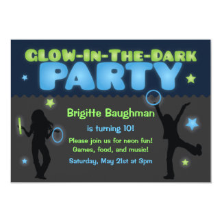 Glow in the Dark Party Invitation for Kids