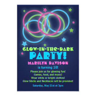 Glow in the Dark Party Invitations Rings and Stars