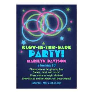 Glow in the Dark Party Invitations Rings Stars