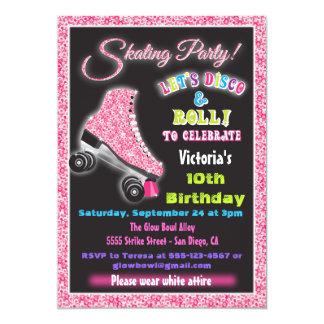 Glow in the dark roller Disco Skating invitations