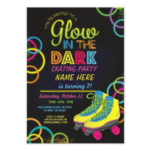 Roller skating invitations announcements zazzle glow in the dark roller skating birthday invite stopboris Gallery
