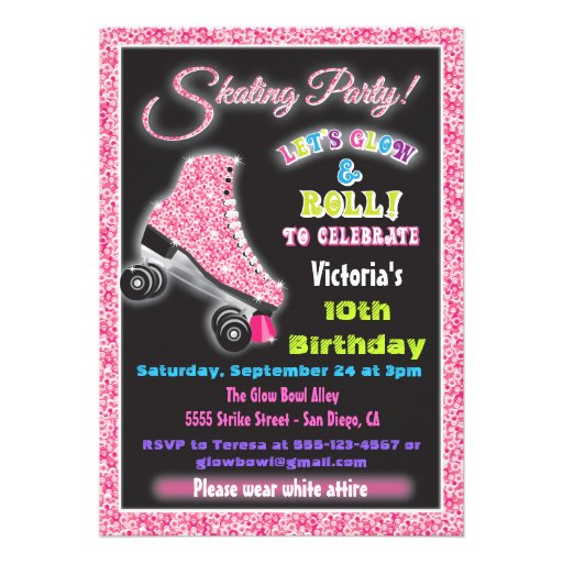 Personalized Glow in the dark Invitations – Free Printable Roller Skating Party Invitations